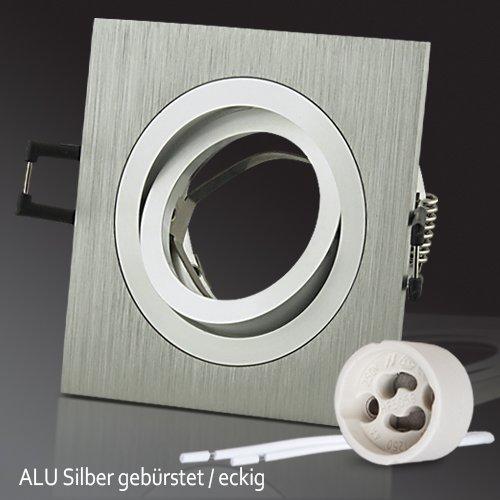 """10x Lu-Mi® Einbaustrahler ALU Einbaurahmen """"Silber"""" Eckig SD-1047 inkl. GU10 Fassung, schwenkbar"""
