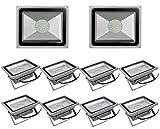 Leetop 50 Watt LED Flood Light SMD Flutlicht Außen Fluter kaltweiß Scheinwerfer Strahler Licht IP65 Gartenleuchte Security Light(10 Stücke)