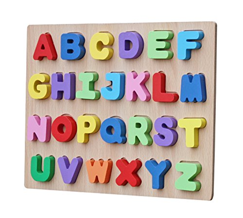 Toyshine Premium Wooden English Capital Letters Puzzle Toy, Educational and Learning Toy - ABC