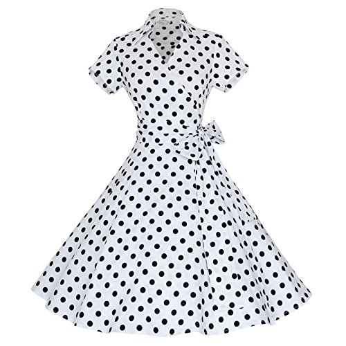 Maggie Tang 50s 60s Vintage manches courtes Robe trap¨¨ze Rockabilly Party Blanc noir