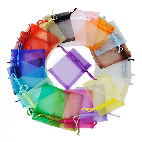 Topbathy sacchetti di organza sacchetti bomboniere sacchetti per confetti per matrimonio compleanno 100 pezzi