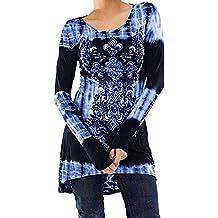 f2fa992d176 KEERADS T-Shirt Mode Chic Femme Manche Longues Imprimé NuméRique Fleur  Tunique Lche Longue Blouse