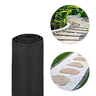 Relaxdays Malla Antihierbas 17 g/m² Permeable y Resistente a los Rayos UV, Polipropileno, Negro, 15 m