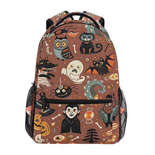 Montoj Halloween-Aufkleber schwarz Katze Geist und Kürbis Reisetasche Campus Rucksack