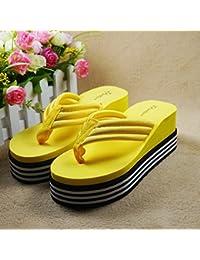 Sandalias de Tacón con anti-deslizamiento pendiente femenina zapatillas sandalias de Tela,38 adecuado para 36 pies,amarillo