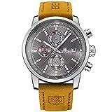 BENYAR Mode Men es Quartz Chronograph wasserdicht Uhren Business Casual Sport Design braun Lederarmband Armbanduhr (Silver Back)