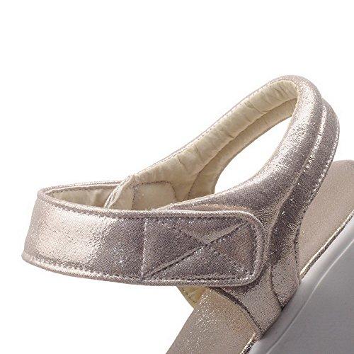 VogueZone009 Donna Tessuto Lucido Puro Velcro Punta Aperta Tacco Medio Sandali Oro