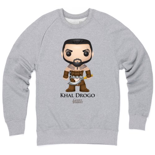 Official Game of Thrones - Funko POP Khal Drogo Sudadera de cuello redondo, Para hombre, Gris jaspeado, XL