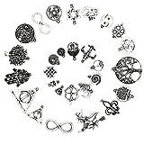 Ruby 50 piezas Colgantes de Metal Abalorios Estilo de Plata Tibetana Forma Mixta Varios Temas para elaborar bisutería (Símbolos de la Suerte)
