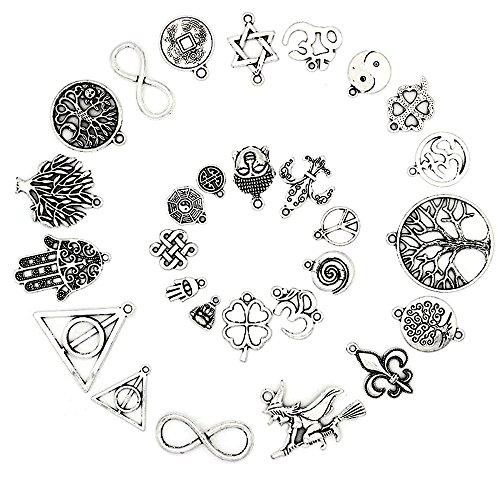 RUBY - 50 Colgantes de metal, abalorios variados, kit de bisuteria, bisuteria accesorios, material para hacer bisuteria, abalorios estilo de plata, diversos modelos (Símbolos de la Suerte)