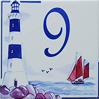 Azul'Decor35 House numbering ceramic - 10,8x10,8x0,5cm - Custom Street number to choose from!