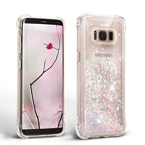 Samsung Galaxy S8 Plus Silicona TPU Carcasa, Mosoris Bling Arena Movediza Lentejuela Funda Glitter Líquido Brillar Cubierta Anti Arañazos Tapa Choque Absorción Cubierta Caja Cristal Sparkle Protección Caso Flexible Bumper Case - light pink