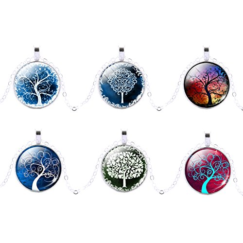 lucky-jewelry-womens-wish-tree-pattern-glass-cabochon-pendant-necklace-collar-choker-6-pieces