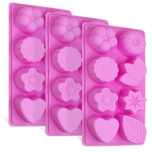 FineGood 3 Stück Floral Leaf Silikonformen, 8-Cavity Kuchen Schokolade Pudding Jelly Soap Muffin Schalen für Küche Backen Dekoration - Rosa