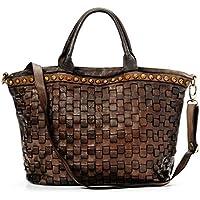 Ira del Valle, Borsa Donna, In Vera Pelle Intrecciata Vintage, Made in Italy, Modello Las Vegas Bag, Borsa Grande a Mano e Spalla con Tracolla da Donna Ragazza