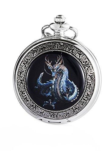 Carrie Hughes CHPW3 Herren Vintage Blue Dragon Steampunk Skelett Mechanische Taschenuhr mit Kette Geschenk