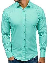 Bolf Herren Hemd Elegant Langarm Farbwahl Knopfleiste Casual Style 2B2 MIX