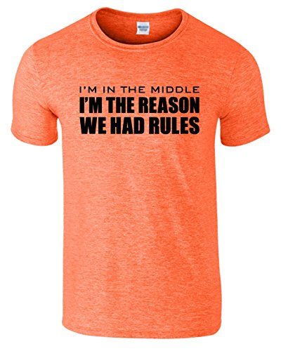 Im The Reason Sibling Rules Herren T-Shirt Im Mittlere Kind Heather Orange / Schwarz Design