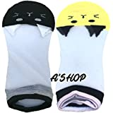 A'SHOP Platinum Unisex Cotton with Transparent White Net Multi-Coloured Black & Yellow Pussy Cat Socks for GIRLS & WOMEN for Summers(Set of 2 pairs)