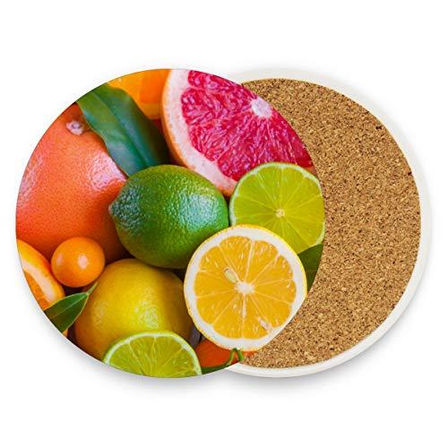 Orange Grapefruit Zitronenscheiben, rund, saugfähig, Keramik, Steine, Getränke-Untersetzer, Kaffeetassen-Matten-Set für Zuhause, Büro, Bar, Küche (Set von 1), keramik, multi, 1 Stück (Grapefruit-wein)