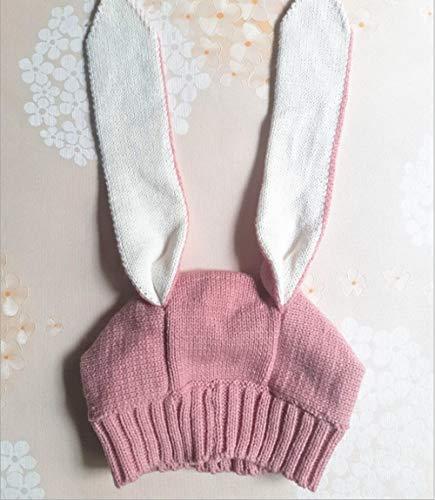 Kinder Lange Ohren Kaninchen Hut männer und Frauen Baby Neue Hut Baby Kind Lange Ohr gestrickte Kopfbedeckung Kappe Hut (Farbe : Rosa) -