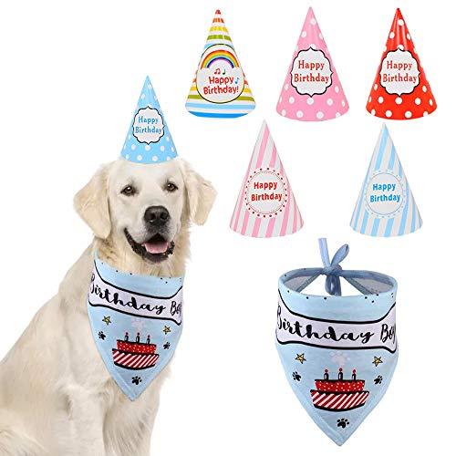 MEDOSO Hunde-Geburtstags-Halstuch, Dreieckstuch mit 6 Stück Happy Party Hüte weiche Baumwolle verstellbar tolle Hundehalstuch Outfit Dekorationsset Perfekt für Welpen Kätzchen Supplies (blau) (Bandana-outfit Für Jungen)