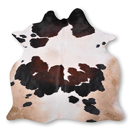 Premium Kuhfell-Teppich aus Südamerika - 100% Naturprodukt - dunkel braun weiß sand L215 x B200cm
