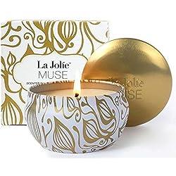 La Jolie Muse Bougie Parfumée Vanille Noix de Coco Cadeau pour la Fête 100% Cire de Soja Naturelle pour Soulagement de Stress Aromathérapie Voyage 45 Heures