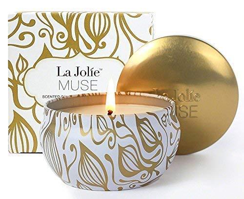 Scheda dettagliata La Jolie Muse Candela Profumata alla Vaniglia con Noce di Cocco per la Cera 100% Naturale di Soia per Lo Stress Antistress Viaggio 45 Ore