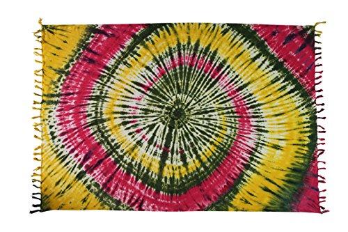 Sarong Pareo Wickelrock Strandtuch Tuch Schal Wickelkleid Strandkleid Blickdicht Jamaika - Bunt Rasta (Tunika Bali Baumwolle)
