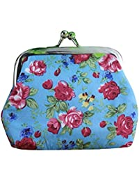 Blue : Culater® Women Lady Retro Vintage Flower Small Wallet Hasp Purse Clutch Bag (Blue)