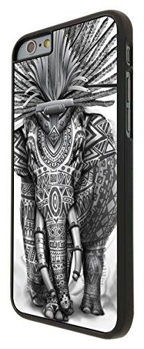 573-Funky Indian Aztec Elephant Cool Coque iPhone 6Plus/iPhone 6Plus S 5.5Design Fashion Trend Case Back Cover Métal et Plastique-Noir