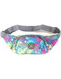 Color Splash Waist Pack Pouch For Outdoor Travel Belt Bag-Black