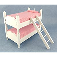 New Dolls House Miniature Furniture White Wood Pink Gingham Bunks Bunk Beds 413