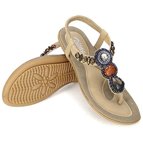Zicac Damen Sandalen Böhmen Flip-Flops EU 35-41 Damen Sommer Schuhe Aprikose