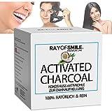 Natürliche Premium Aktivkohle Kokosnuss 100% REIN zur Zahnaufhellung Zahnbleaching | Erfrischt den Atem | OHNE Schädliche Zusatzstoffe | 60g RAY OF SMILE Premium Line
