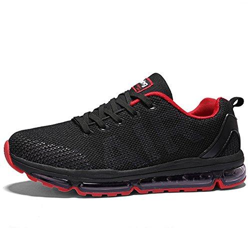 Unisex Sportschuhe Laufschuhe Sneakers Turnschuhe Fitness Mesh Air Leichte Schuhe Rot Schwarz Weiß (A61-Red39)