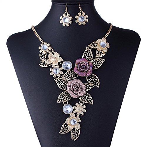 HongHu in lega placcata oro, con Rose in rilievo Eerrings Jewelry-Collana da donna - Oro Collana In Rilievo