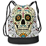 Printed Drawstring Backpacks Bags,Catrina Calavera Featured Figure Ornaments Macabre Remember The Dead Theme,Adjustable String Closure