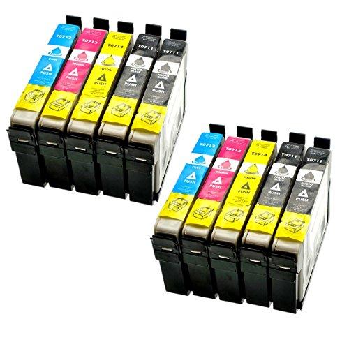 Azprint 10er Set Kompatibel Epson T0711 T0712 T0713 T0714 T0715 Druckerpatronen für Epson Stylus SX105 SX210 SX218 SX400 DX4000 DX4400 DX6000 DX6050 DX8450 BX300FDrucker | 4 Schwarz, 2 Blau, 2 Rot, 2 Gelb