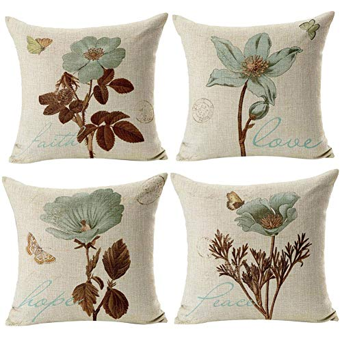 Gspirit 4 Pack Retro Flor Algodón Lino Throw Pillow