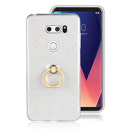 Soft Flexible TPU Back Cover Case Shockproof Schutzhülle mit Bling Glitter Sparkles und Kickstand für LG V30 ( Color : Blue ) White