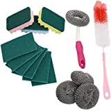 Livzing Kitchen Stainless Steel Scrub, Pad Sponge Set, Dish Pan Scourer, Wire Ball Bottle Brush, 14 Pcs (Multipurpose)