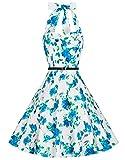 Zarlena Damen 50er Retro Rockabilly Pola Dots Petticoat Neckholder Kleid weiß/türkises Floralmuster Small DROD-TRQ-S