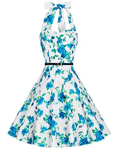 Zarlena Damen Rockabilly Kleid Petticoat Cocktailkleid Neckholder Blumen Floralmuster weiß/türkises Floralmuster L (Marilyn Kleid Monroe Neckholder)