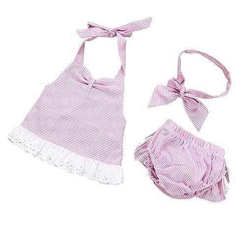 Balai bébé fille 3PCS Set Princesse Rose Robe à bretelles + PP Pants + Bandeau Pageant Tutu robe Dos nu à rayures roses 0-24mois