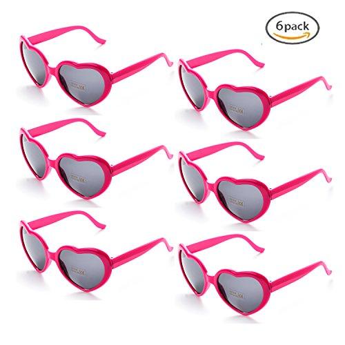 Onnea 6 Paare Party Favors Lustige Sonnenbrille Bunt Set für Kinder Erwachsene (6-Pack Leuchtend Rosa)
