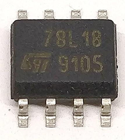 50 Stück L78L18CD POSITIVE VOLTAGE REGULATOR   18V +/-10%   ERWEITERTER TEMPERATURBEREICH 0°C to +125°C   SO-8 (8 Extended Range)