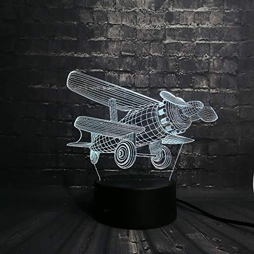 PDDXBB Modello di Aereo 3D LED Night Night Atmosfera Baby Room Lampada USB Luce da Sogno 7 Colori Cambio USB Touch Base Regalo di Natale Sedici Colori 200 * 150 * 87Mm (Controllo A Due Colori)