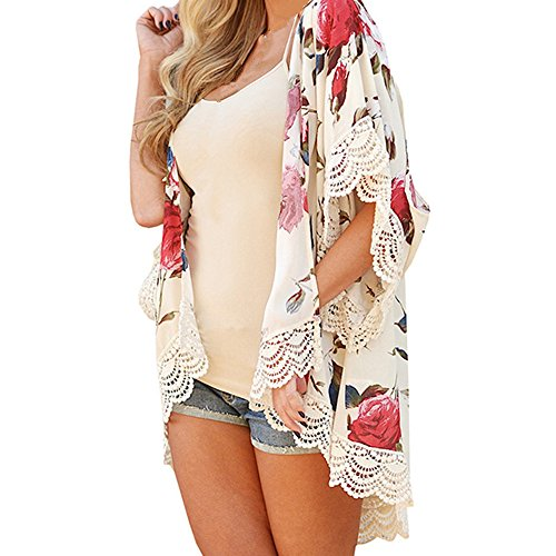 YunYoud Damen Mode Blusen Rose Drucken Kimono Strickjacke Spitze Stitching Flare Hülse Tops Lange Chiffon Bluse Beiläufig Strand Mantel (M, Beige) (Spitze Flare Bluse)